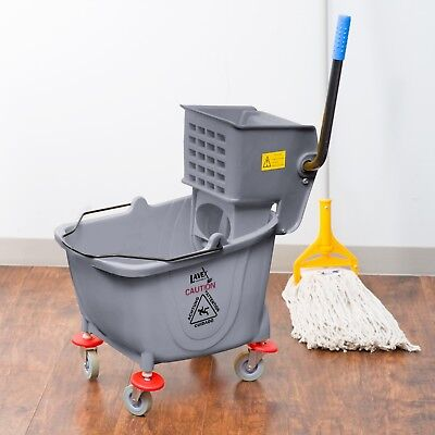 36 Quart Commercial Wet Mop Bucket & Wringer Combo Gray Janitorial