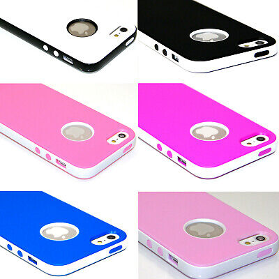 Ultra-Thin SlimTPU Shockproof Rubber Matte PC Bumper Case Cover For iPhone 5S SE