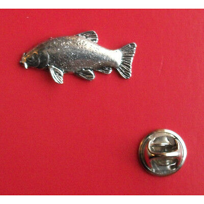 Leather Carp fish fishing English Pewter Lapel Pin Badge XTSPBF42