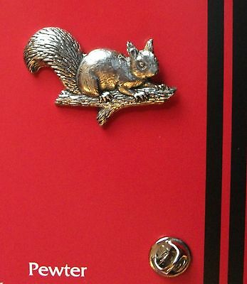 English Pewter  SQUIRREL Pin Badge Tie Pin / Lapel Badge A7