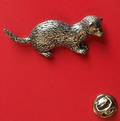 English Pewter Ferret Pin Badge Tie Pin / Lapel Badge A32