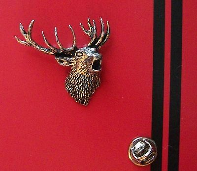 English Pewter Roaring STAG Pin Badge Tie Pin / Lapel Badge A49