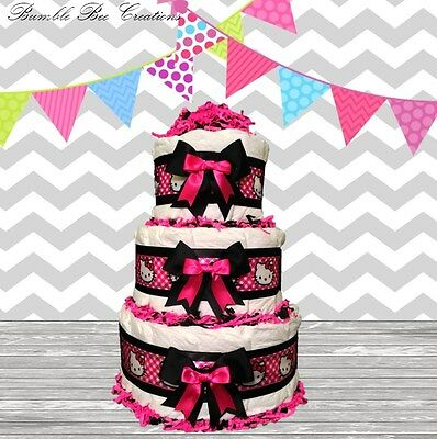 Hello Kitty Pretty In Hot Pink 3 Tier Diaper Cake /Centerpiece /Baby Shower Gift