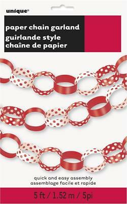 CLEARANCE Ruby Red Decorative Dots Polka Dot Party Paperchain Decoration