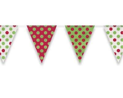 Red & Green Decorative Dots Polka Dot Party Plastic Flag Bunting