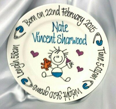 Baby Plate 20cm New Born Baby Gift Personalised with Birth or Christening detail