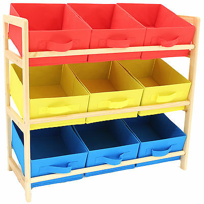 Hartleys 3 Tier Storage Shelf Unit Kids Childrens Bedroom Nursery Boxes/Drawers