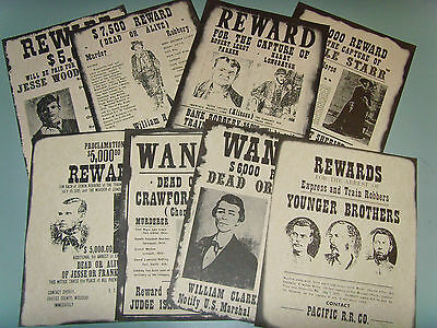 Set of 8 Western Decor Wanted Posters, Belle Starr, Jesse James, Billy Kid -Misc