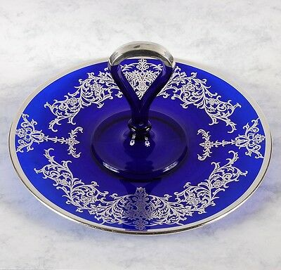 Cobalt Blue With Silver Overlay Tidbit Dish