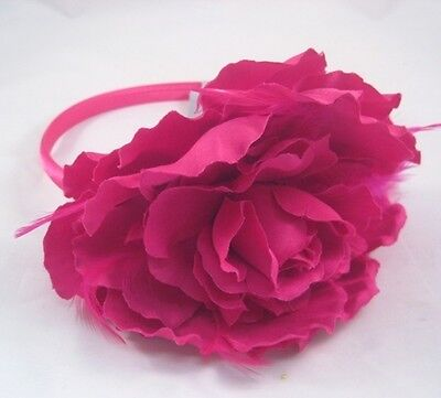 "12 Wholesale 5"" Fuscia Flower Headbands With Feathers New With Tags #H2011-12"