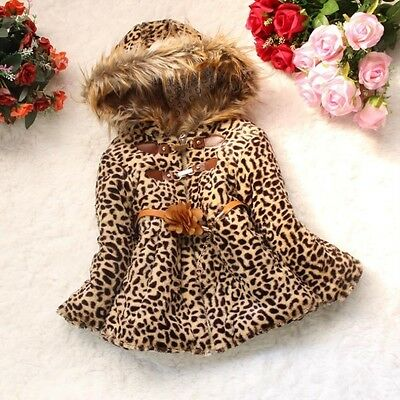 New Kids Toddler Girls Faux Fur Leopard Winter Hoodies Jacket Coat Outwear Parka