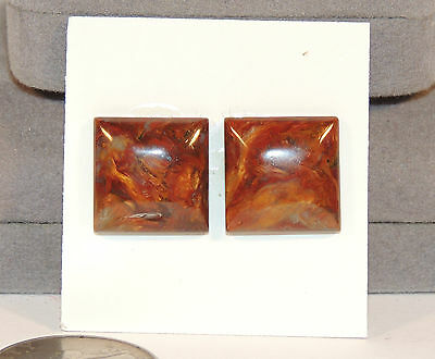 Pietersite Square Cabochon pair 16x16mm with 5mm dome (5451)