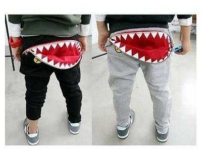 Kids Boys Girls Shark Zipper Pocket Tracksuit Bottoms Joggers Casual Track Pants
