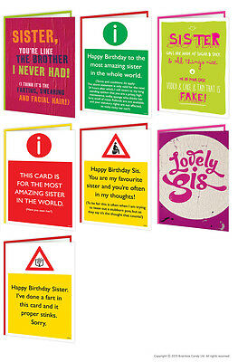 Brainbox Candy Sister Sis Birthday greeting cards funny rude cheeky naughty joke
