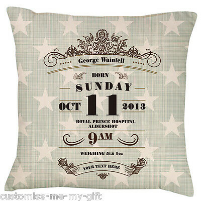 Baby Blue Star Art Deco Design Baby | Birth Announcement Personalised Cushion