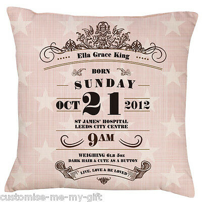 Baby Pink Star Art Deco Design Baby | Birth Announcement Personalised Cushion
