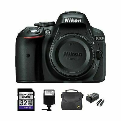 Nikon D5300 Digital SLR Camera (Body) - Black + 32GB, Flash, Case & Charger