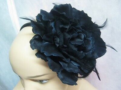 "12 Wholesale 5"" Black Flower Headbands With Feathers New With Tags #H2008-12"