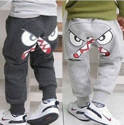 Kids Toddler Boys Girls Eyes Cotton Joggers Casual Track Pants Trousers Leggings