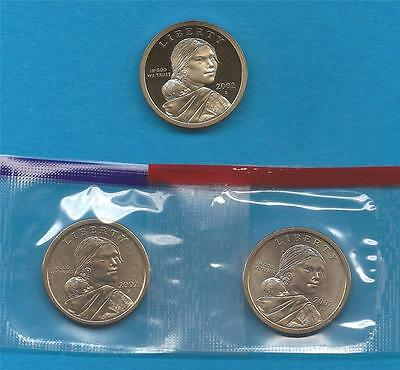 2002 P D and S BU and Gem Proof Sacagawea Native American Dollars - Three Coins