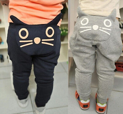 Kids Baby Toddler Boys Girls 3D Cat Cotton Joggers Casual Track Pants Trousers