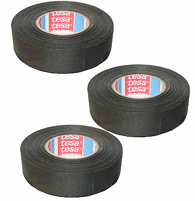TESA 51025 19mm x 25m 3-pack of Adhesive Cloth Fabric Tape for wiring harnesses