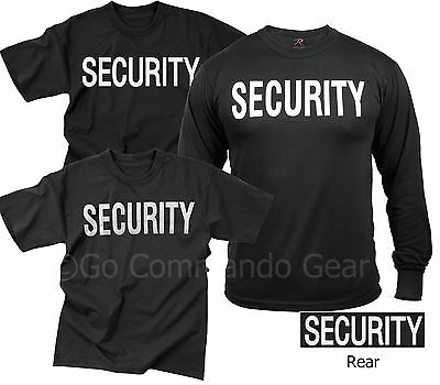 Security T-Shirt Tees Event Bouncer Staff Double Sided Black Tee Shirts S-8XL