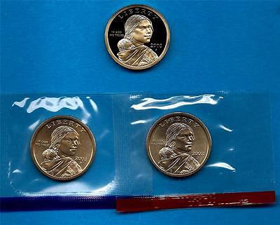 2003 P D and S BU and Gem Proof Sacagawea Native American Dollars - Three Coins