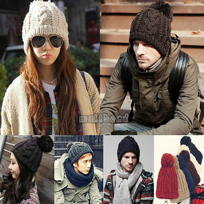 Mens Womens Unisex Winter Beanie Bobble Twist Hat Warm Knitted Oversized Free PP