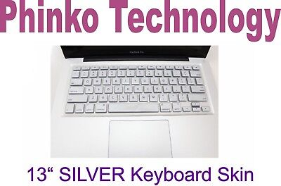"""New Silicone Keyboard Cover Skin For Apple New Macbook Air 13"""" 13.3"""" Silver"""