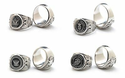 New Men's Us Military Air Force Army Navy Marine Corps Stainless Steel Band Ring