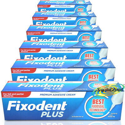 6x Fixodent Plus Food Seal Denture Adhesive Cream 40g With Precision Nozzle