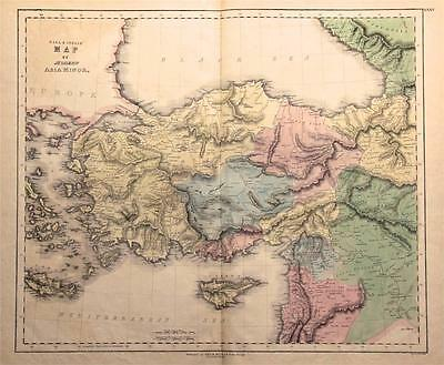 1859 Asia Minor - Large Antique Map, Fine Hand Color - Gall & Inglis - Turkey