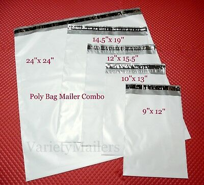 40 Poly Bag Postal Envelope Mailer Combo 5 Medium & Large Self-Sealing Sizes