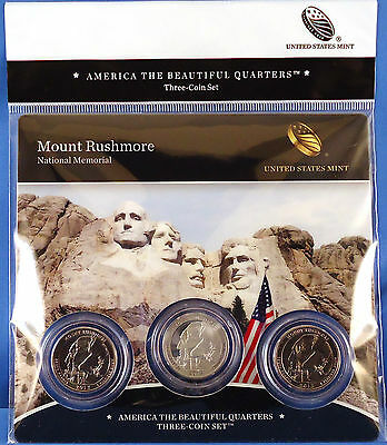 2013 Mount Rushmore (SD) America the Beautiful Quarters 3-Coin Mint Set with COA