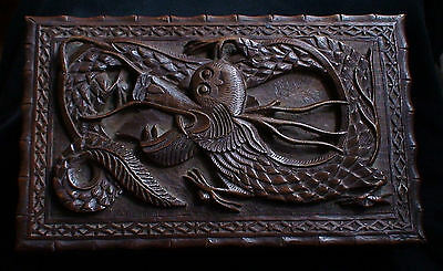 Antique 19.century Chinese Handcarved Dragon Wood Large Box Raised Hollow Relief
