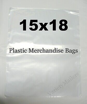 100 Large 15''x 18'' Clear Flat Merchandise / Storage Bags 1.5 Mil Quality