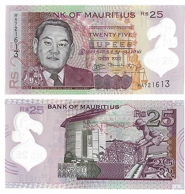 Mauritius - New Issue Polymer 25 Rupees Unc Banknote 2013 Year