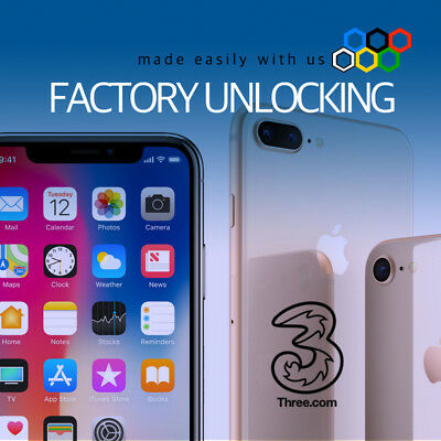 iPhone 3UK Three Hutchison Factory Unlock X 8+ 8 7 SE 6S Locked Policy Supported