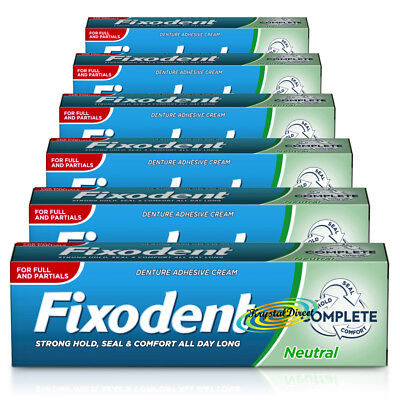6x Fixodent Neutral Complete Denture Adhesive Cream 47g Hold Seal & Comfort