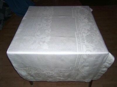 64x82 Vintage Antique White IRISH LINEN DOUBLE DAMASK Hemstitched Tablecloth