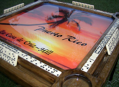 Domino Tables by Art with Gorgeous Puerto Rico Tropical Sunset & Name Option