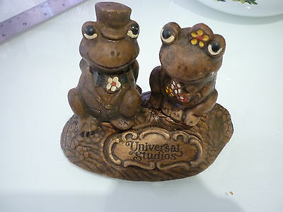 Vintage Set Salt Pepper Shakers Frog Boy Girl Universal Studios Ceramic TIC USA