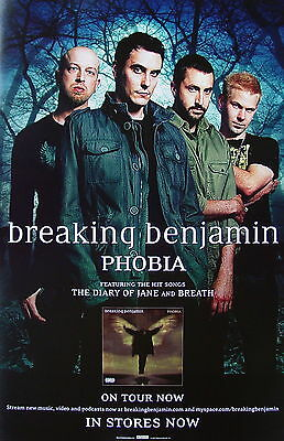 BREAKING BENJAMIN Phobia PROMO Poster BEN BURNLEY Chad Szeliga LIFER Breath RARE