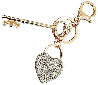 Lover Valentine Key to Heart Rhinestone Bling Keychain Key Holder Ring Charm!