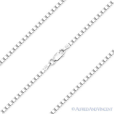 Italy .925 Sterling Silver Gauge 022 1.1mm Thin Box Link Italian Chain Necklace