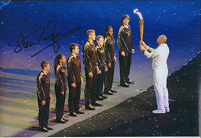 Steve REDGRAVE 12x8 Signed Photo Autograph AFTAL COA OLYMPIC Torch Flame