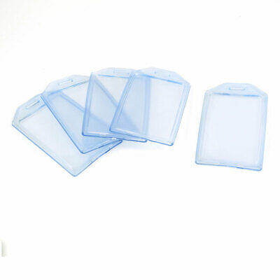 5 Pcs   Clear Blue Soft Plastic Vertical A7 Name Card Badge Holders