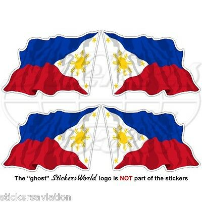 "PHILIPPINES Philippine Flying Flag, Pilipinas 50mm (2"") Vinyl Sticker, Decal x4"