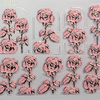 High Quality 3D Nail Art Stickers Decals Decorations Hot stamping Pink Flower